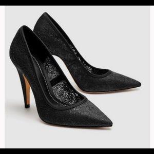 Zara lace pointed toe heels
